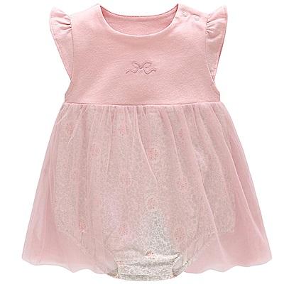 Baby unicorn 粉灰花卉網紗短袖包屁衣