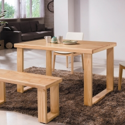 Bernice-比爾北歐風4.3尺實木餐桌-原木色