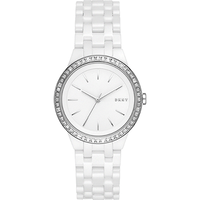 DKNY 紐約時尚陶瓷腕錶NY2528-白/36mm