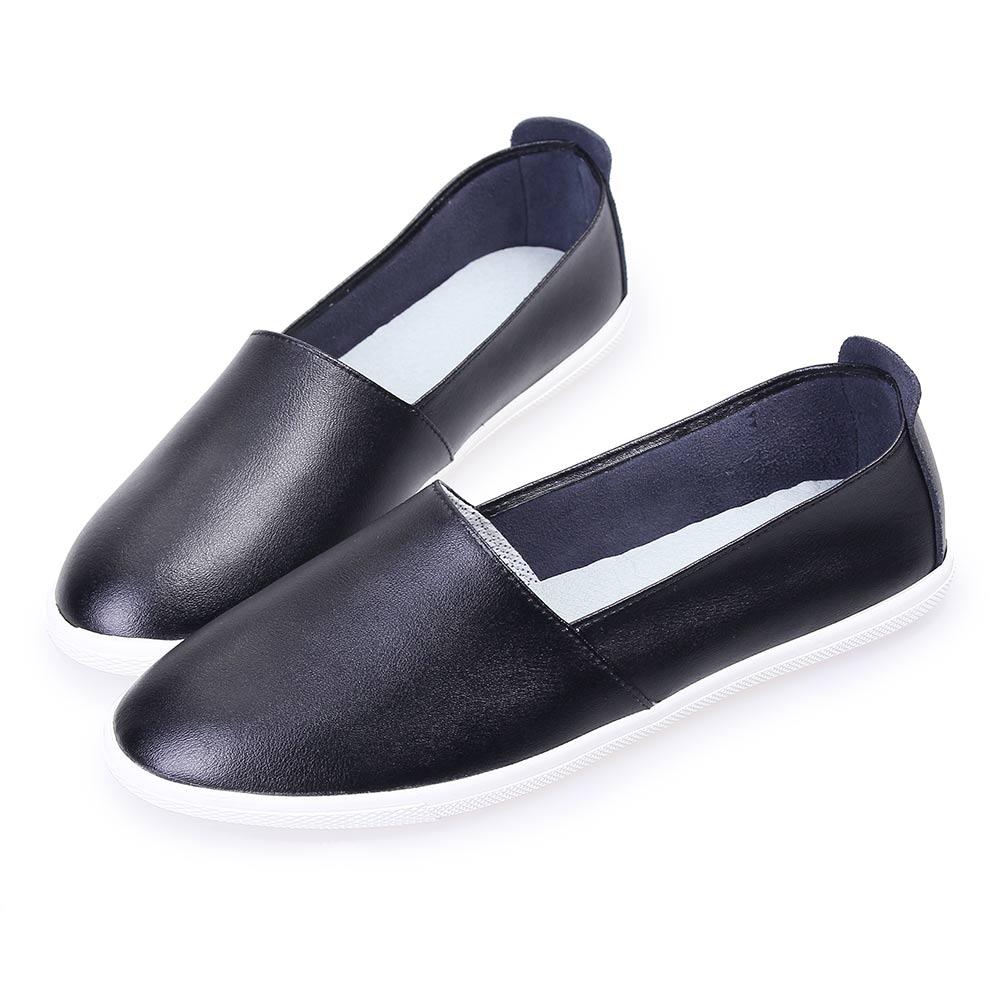 TTSNAP樂福鞋-MIT全真皮韓系懶人休閒鞋 黑