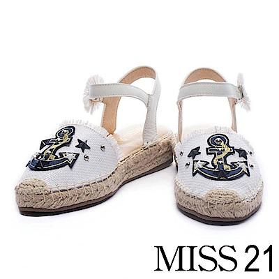 涼鞋 MISS 21 海軍風船錨圖案編織造型繫帶草編涼鞋-白
