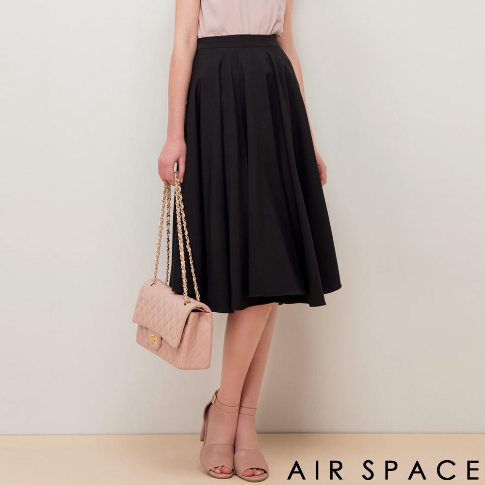 AIR SPACE 聯名大波浪傘襬及膝圓裙(黑)