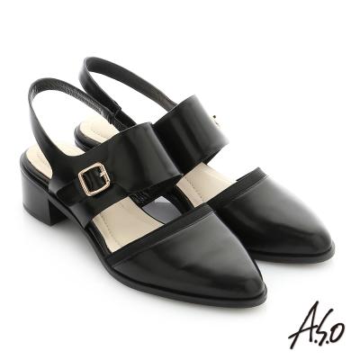 A.S.O 個性美型 鏡面羊皮尖頭低跟寬帶涼鞋 黑色