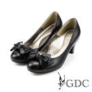 GDC-質感水鑽蝴蝶結牛皮粗低跟鞋-黑色