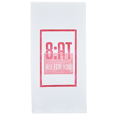 8:AT  棉絨印花大浴巾(牙白)
