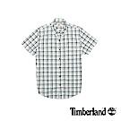 Timberland 男款綠黑白格紋修身短袖襯衫