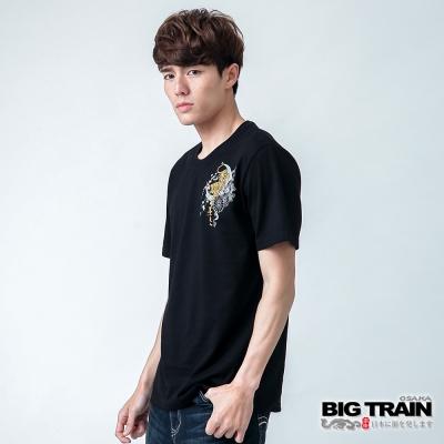 BIG TRAIN 金虎櫻波圓領TEE-男-黑