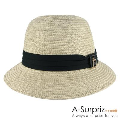 A-Surpriz-黑緞皺褶5號遮陽草帽-卡其