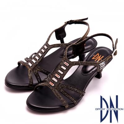 DN-時尚MIT-個性亮麗水鑽踝跟涼鞋-黑