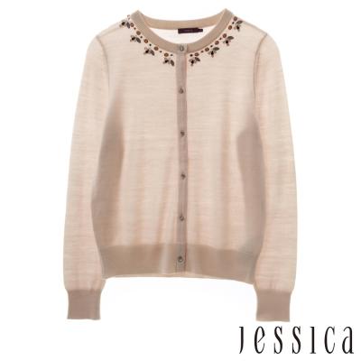 JESSICA-氣質綴珠花邊針織外套(粉)