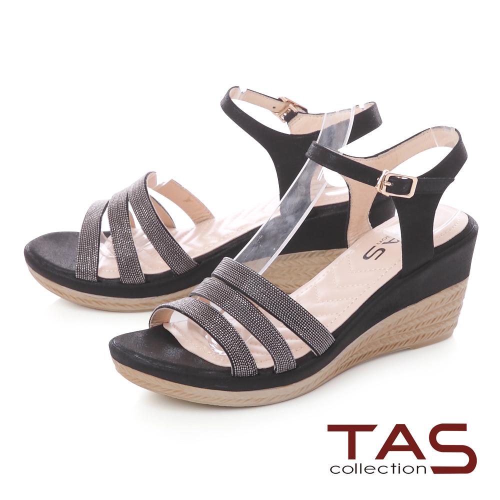 TAS 金屬質感繫帶繞踝飾扣楔型涼鞋-氣質黑