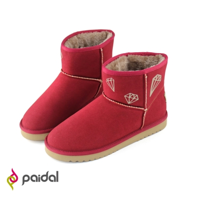 Paidal鑽飾保暖短筒雪靴-寶石紅