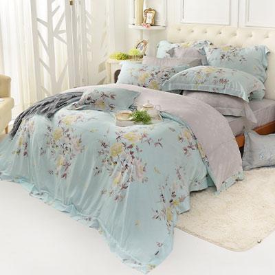 義大利La Belle 春氛絮影 加大天絲八件式防蹣抗菌兩用被床罩組
