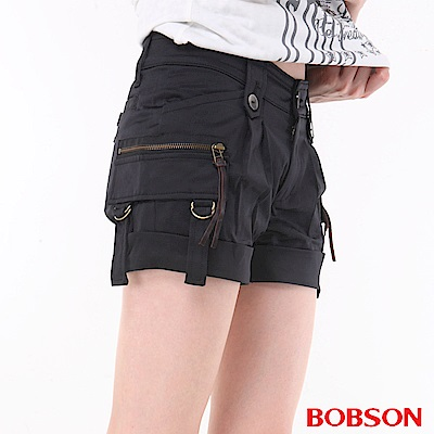 BOBSON 女款銅色拉鍊短褲