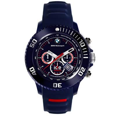 Ice-Watch BMW運動系列 摩登潮流計時手錶-藍x紅/48mm