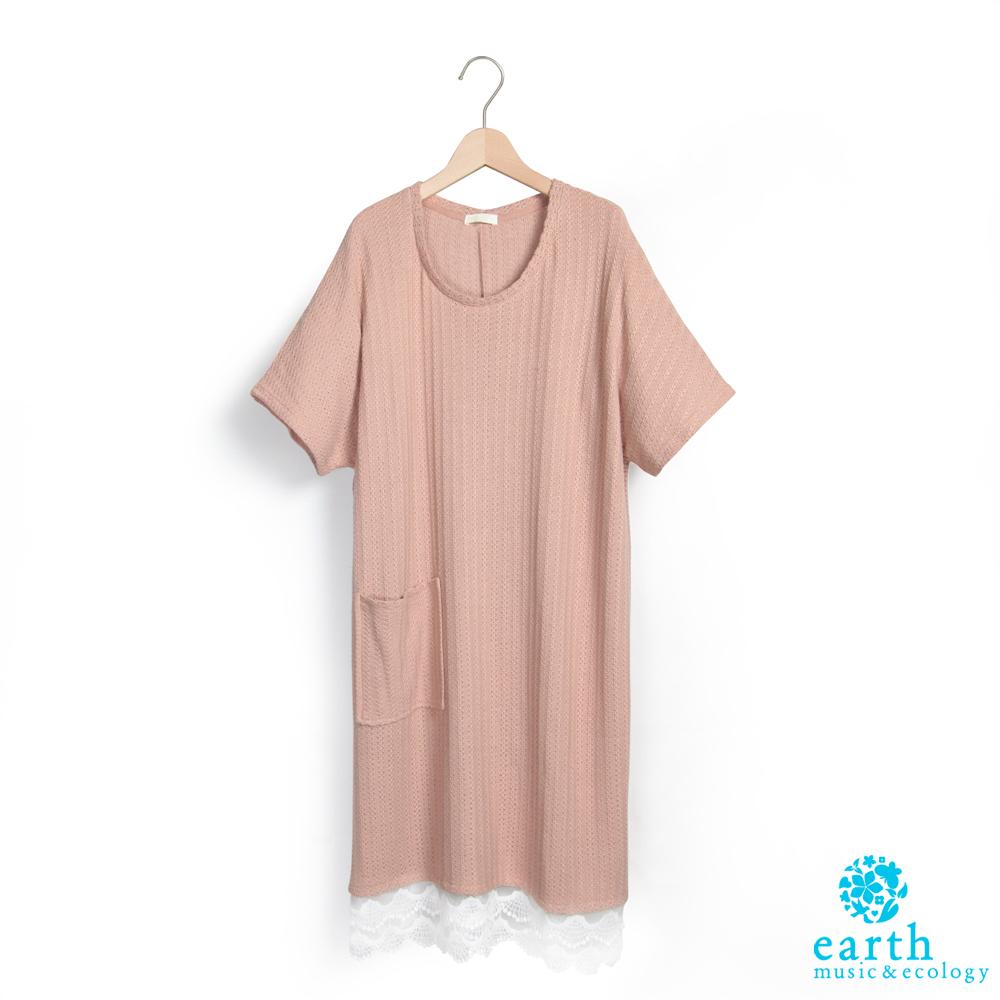 earth music 下擺蕾絲拼接短袖洋裝