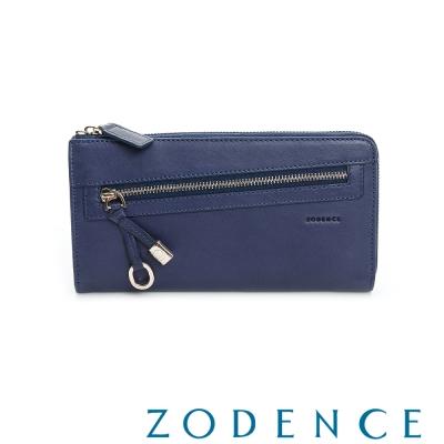 ZODENCE-義大利植鞣革系列時尚拉鍊長夾-藍