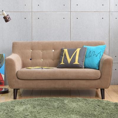 MODERN DECO 艾柏日式拉釦造型雙人布沙發-多色選