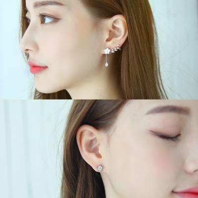 梨花HaNA-韓國925銀貝殼花園點鑽時氛耳環