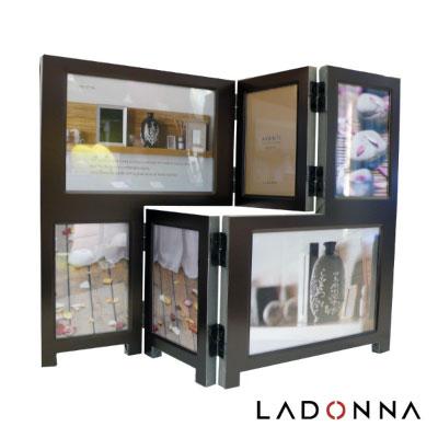 日本 LADONNA Living 都會時尚 簡約生活金屬六格相框 深棕