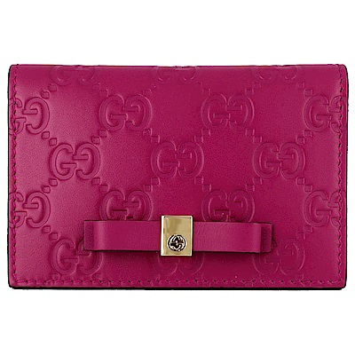 GUCCI Guccissima 桃紅色厚質皮革壓紋蝴蝶結卡片/證件夾