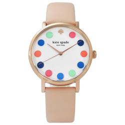 kate spade Metro 美國復刻主流真皮手錶 -白x玫瑰金框x杏粉/34mm