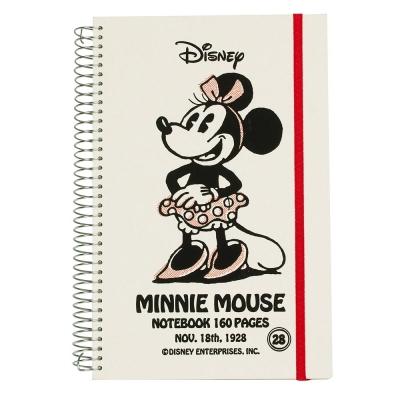 sun-star 迪士尼復古米妮硬殼大線圈綁帶筆記本