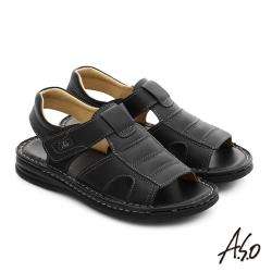 A.S.O 都會休閒 全真皮寬楦手縫氣墊涼拖鞋 黑色