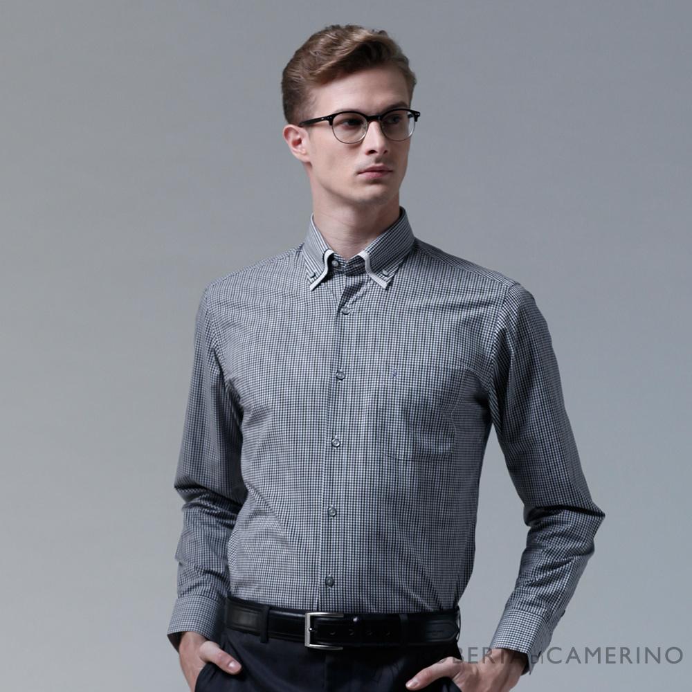 ROBERTA諾貝達 台灣製 合身版 簡約格紋長袖襯衫 黑白