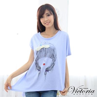 Victoria 紅唇女孩印花TEE-女-水藍