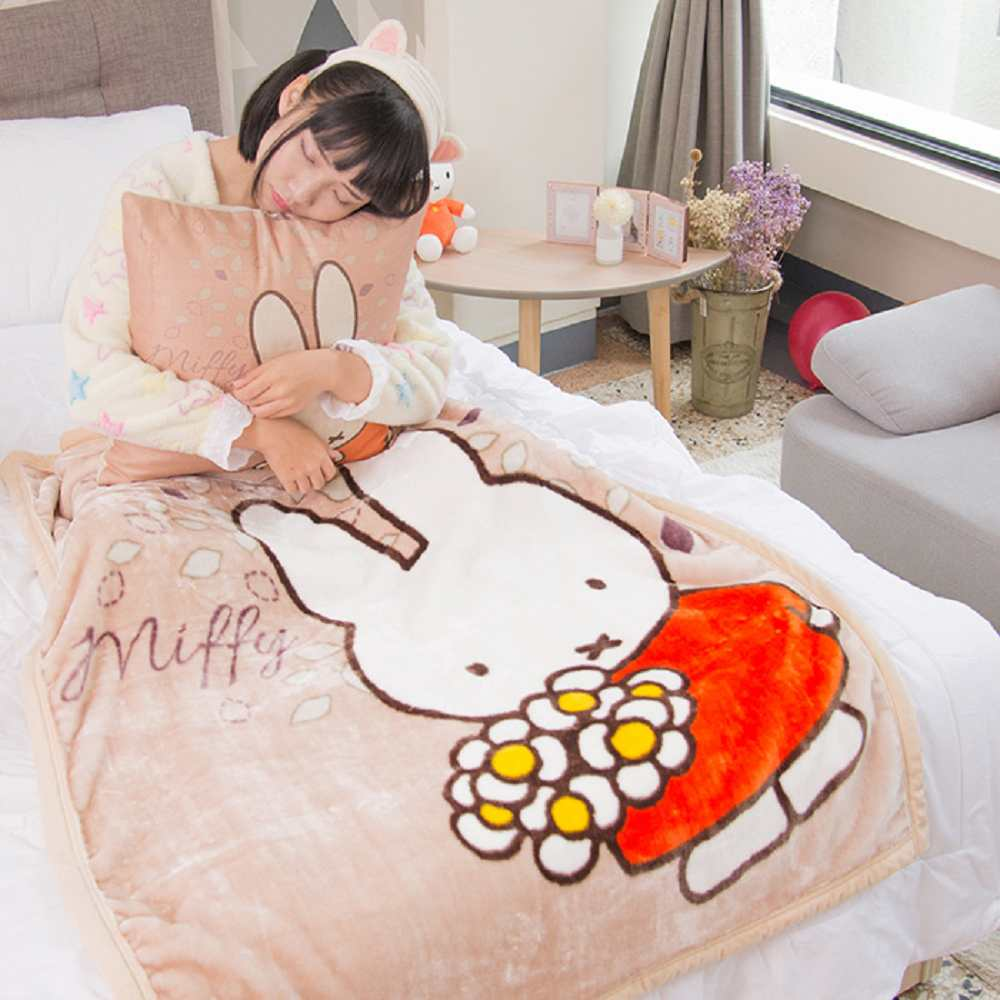Miffy花花米菲 頂級加厚法蘭絨休閒毯