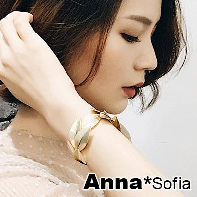 【3件5折】AnnaSofia 女神桂冠葉 硬質開口手環手鐲(金系)