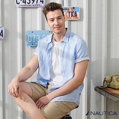 Nautica 涼夏素色亞麻短袖襯衫-藍色