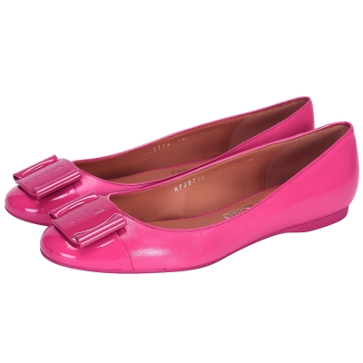 Salvatore Ferragamo LOGO拼接設計平底鞋(桃色)