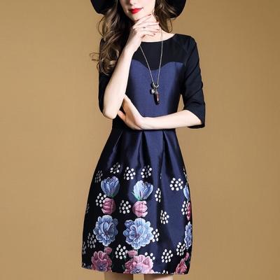 FQ時尚天后 藍粉花朵圓點蓬蓬裙圓領剪裁洋裝(S-2XL)
