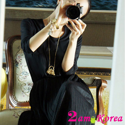 2am-Korea-百摺長裙顯瘦束腰洋裝-共二色