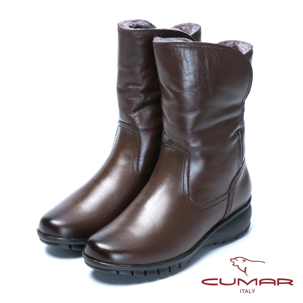 CUMAR絨毛雪靴舒適鞋底真皮短靴-咖啡