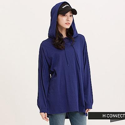 H:CONNECT 韓國品牌 女裝 - 背印字寬鬆縲縈帽T-藍
