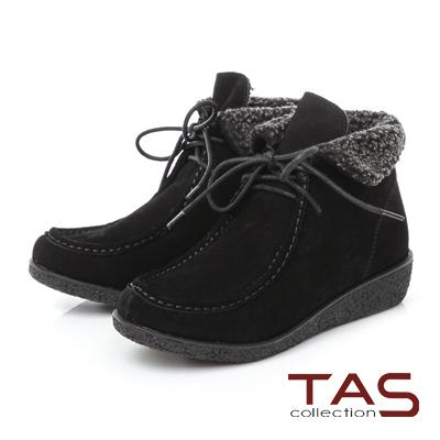 TAS 兩穿式毛絨翻領綁帶麂皮精靈短靴- 黑