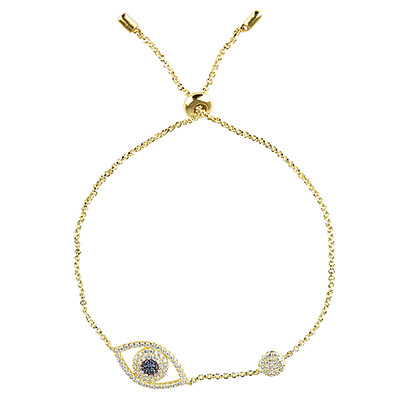 apm MONACO ETE系列晶鑽鑲飾幸運眼設計純銀手鍊(金)