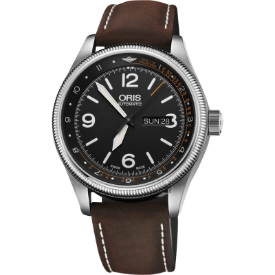 Oris豪利時 皇家醫療飛行團隊II限量機械錶-黑x咖啡錶帶/45mm