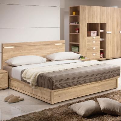 品家居 朵雅莉5尺木面雙人床架(床片+抽屜床底)不含床墊