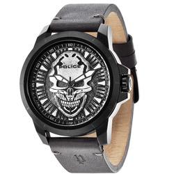 POLICE 骷髏戰士時尚腕錶-黑/48mm