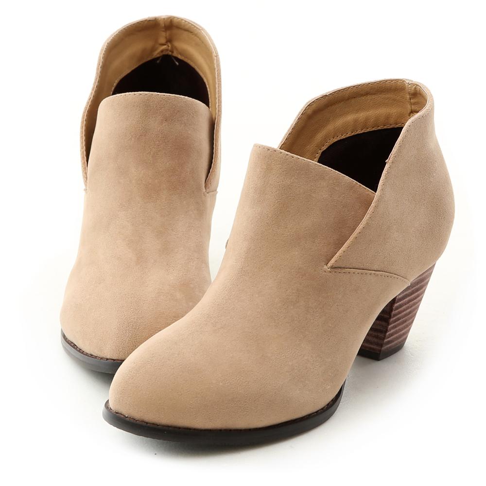D+AF 知性風格.側V切口設計及踝短靴*杏