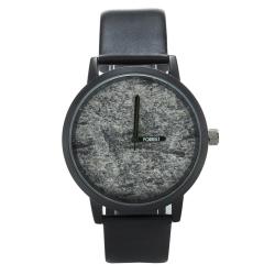 福利品 FORREST 岩石系列 自然簡約設計感手錶-黑皮革35/43mm