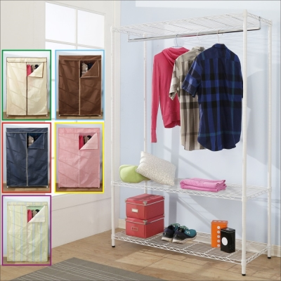 BuyJM鐵力士白烤漆強固型三層單桿衣櫥附布套(90x45x180CM)-DIY