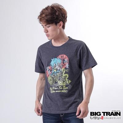 BIG-TRAIN-雲龍舞家將圓領TEE-男-深灰