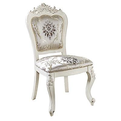 AT HOME-艾唯兒英式優雅絨布實木白色餐椅