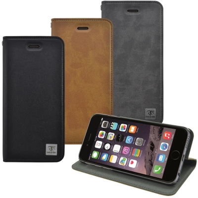 Metal-Slim Apple iPhone 6(4.7)瘋馬紋圓孔設計站立皮...