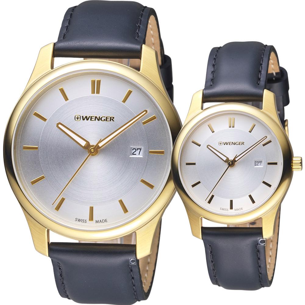 瑞士 WENGER City 城市系列 經典時尚對錶-金色/43+34mm